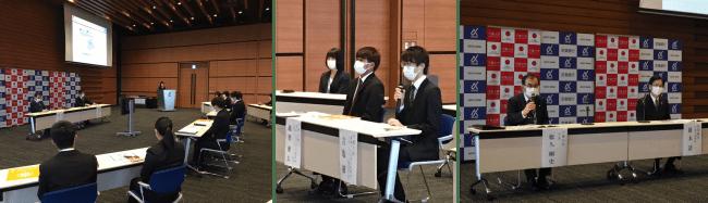 報告会の様子(新型コロナウイルス感染防止対策で全員マスクを着用しての発言となった)