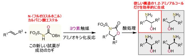 図4:本研究で開発された、ヨウ素が活性中心になる触媒を使った不斉アミノオキシ化反応
