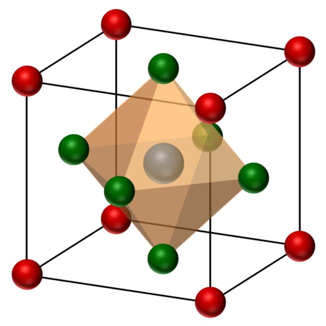 図1 ABX3型ペロブスカイト構造の模式図。立方体の角にAイオン(CH3NH3, CH2(NH2)2, Csなど)、中心にBイオン(Pb, Sn)、面心の位置にXイオン(I, Br, Cl)が入る。