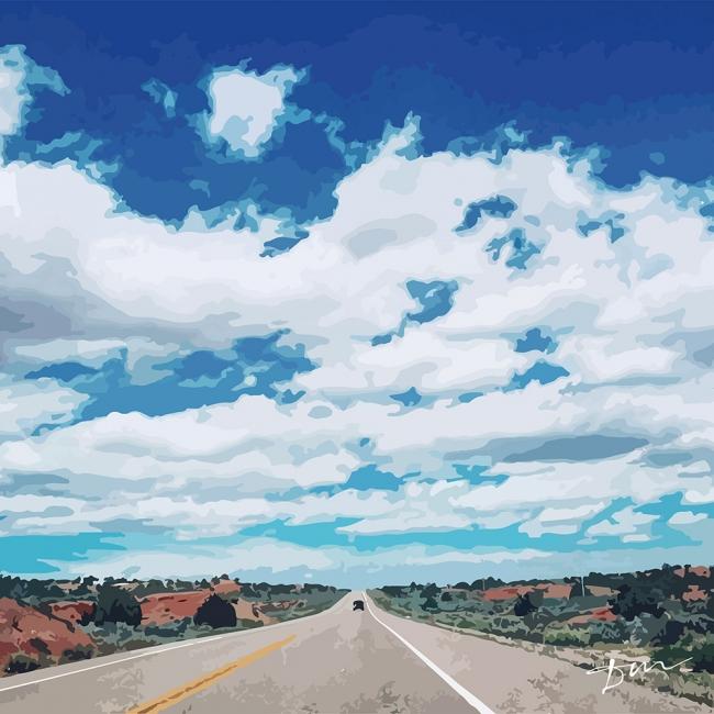 アメリカをイメージした広大な道と空のデザインも。