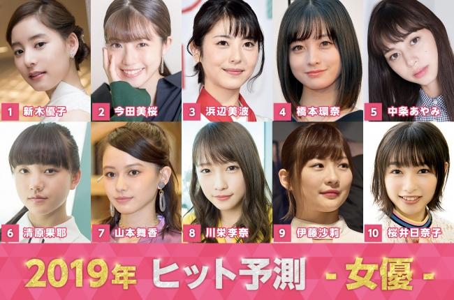 2019ヒット予測」女優・俳優トップ10発表 ブレイク候補モデルも年代 ...