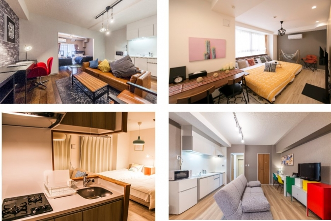 <施設例の紹介:全部屋キッチン付き、リビング・バスルームも広く快適な空間>
