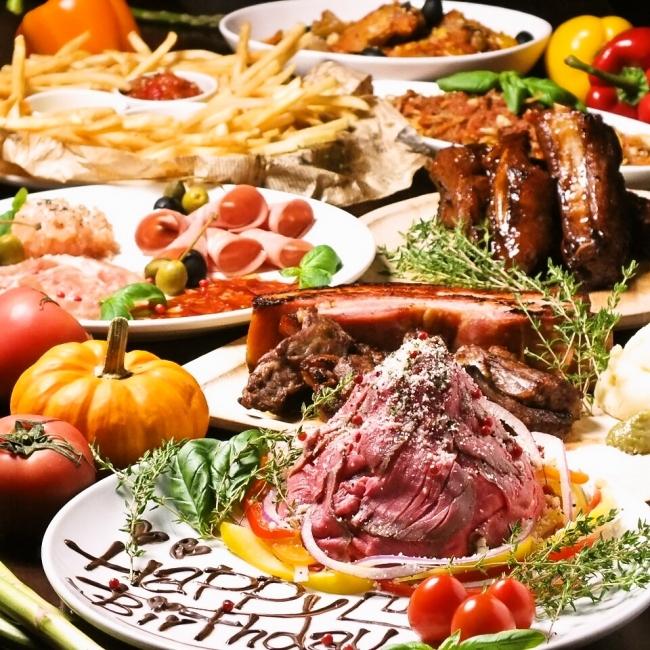 全4種の肉料理&ローストビーフ&本格窯焼きPIZZA30種が食べ放題、  飲み放題付きで¥2929!