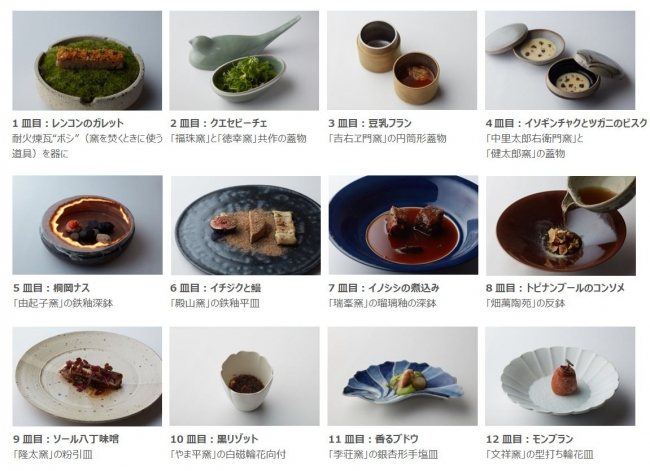 渥美創太氏によるプレミアムな料理と窯元の技とのコラボが生み出した究極の12皿