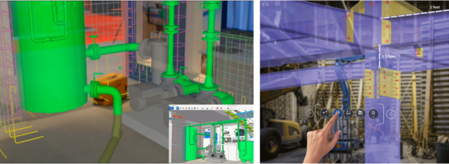 3Dデータの事前確認イメージ                  点間距離測定による干渉チェックイメージ