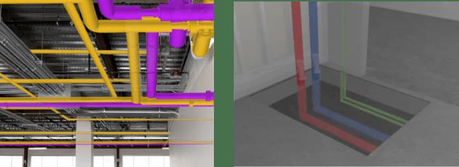 設計データと現物の干渉チェックイメージ         埋設設備の可視化シーン