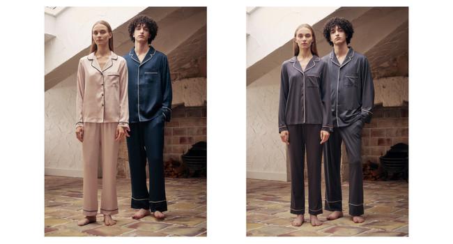 左:ヴィンテージサテンパジャマ 長袖ロングパンツセット 右:コットンベアパジャマ 長袖ロングパンツセット