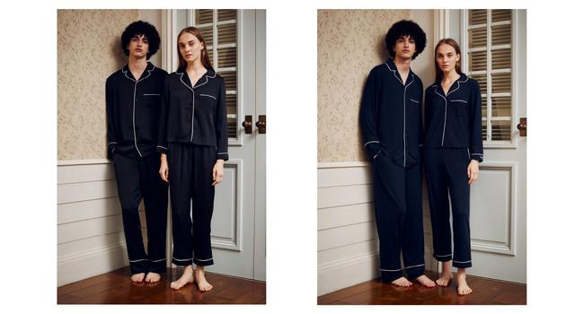 左:ヴィンテージサテンパジャマ 長袖ロングパンツセット(Limited Color) 右:コットンベアパジャマ 長袖ロングパンツセット(Limited Color)