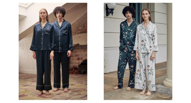 左:シルクパジャマ 長袖ロングパンツセット 右:フラワープリントパジャマ 長袖ロングパンツセット
