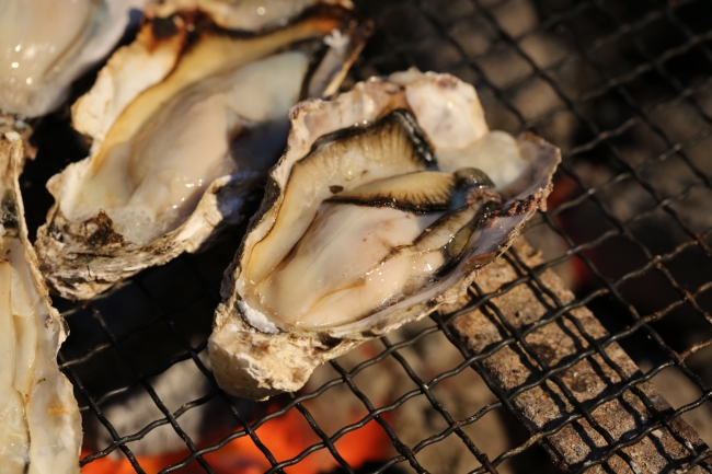 冬の味覚を満喫できる「焼き牡蠣」