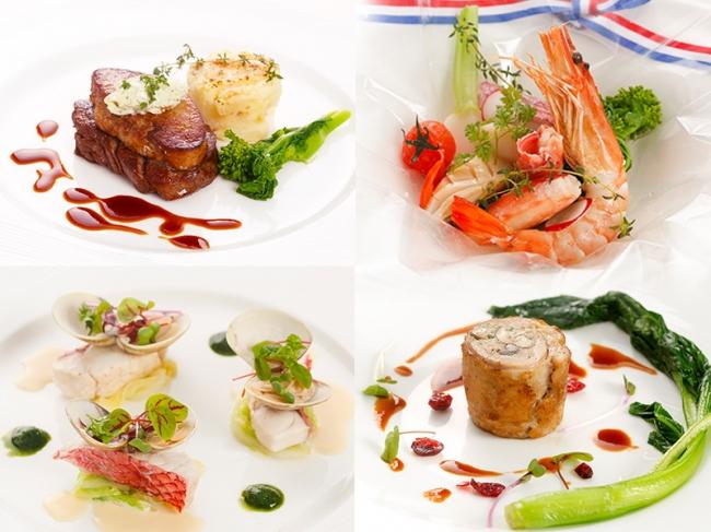 左上:牛フィレ肉のポワレ メートルドテルバター添え (フォアグラ付き+¥1,000)、右上:海の幸のカルタ・ファタ包み(+¥1.500)、左下:白身魚と蛤のワイン蒸し 春菊のクリームソース、右下:ハーブ鶏ときのこのバロティーヌ