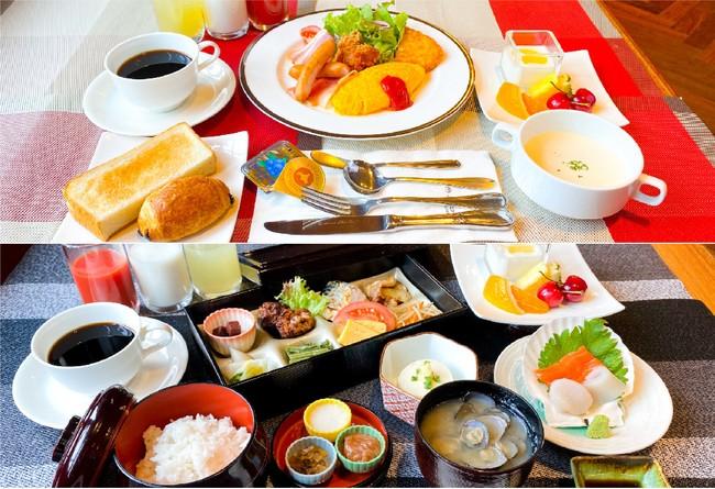 セミブッフェ形式の朝食