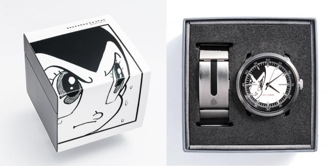 文字板と同じ「アトム」イラストを配した 特別パッケージ。ベルト部分にもアトムのシルエットを レーザー刻印。