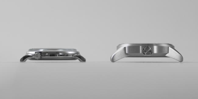 (左)Three Hands Retro head、(右)Three Hands head。ラグ幅22mmのヘッドではシリーズ最軽量&最薄を実現しました。 ムーブメントを含めたヘッドの設計および製造はシチズン時計株式会社が担当しています。