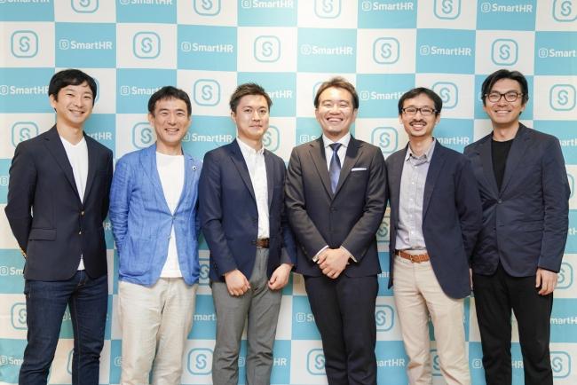 左から:シニフィアン 朝倉氏、小林氏・SmartHR CFO玉木・代表 宮田 ALL STAR SAAS FUND 前田氏・シニフィアン 村上氏