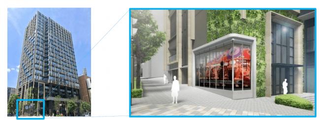 (左から)サイネージを視認性の優れた交差点側に配置、「大型デジタルサイネージ」活用イメージ