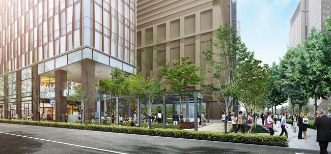 フレームが特徴的な広場空間とシームレスに繋がる2階店舗テラス空間 イメージ