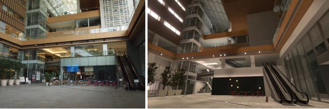 (左から)実際の「マルキューブ」(丸の内ビル1階)、「バーチャル丸の内」上の「マルキューブ」イメージ