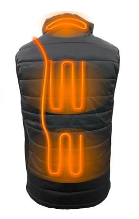 背中、首、腰に電熱線を配置(イメージ)