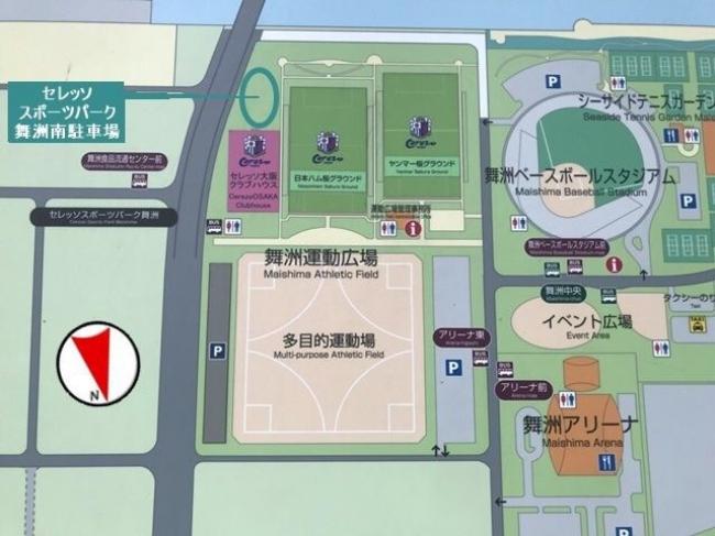 セレッソスポーツパーク舞洲南駐車場地図