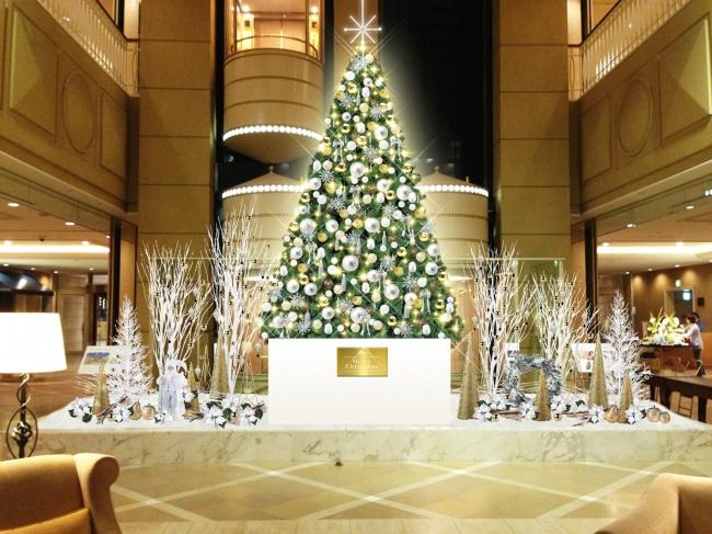 神戸メリケンパークオリエンタルホテル ロビーのクリスマス装飾イメージ