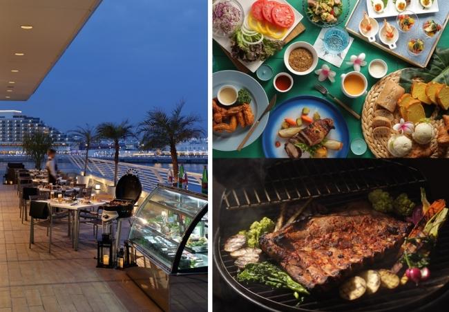左:ビアテラス風景、右上:バイキング料理、右下:スペシャルスペアリブセット 各イメージ写真