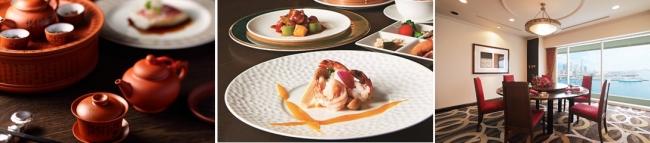 左:中国茶セミナーイメージ、中央:料理イメージ、右:桃花春個室のイメージ