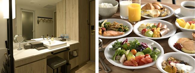 広々とご利用いただける外付けの洗面台スペース / 糸島野菜など福岡の魅力が詰まった朝食