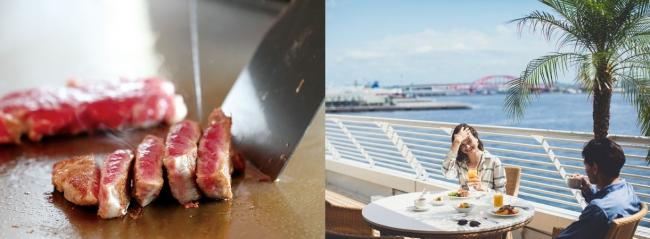 ステーキの実演コーナーとテラス席のイメージ