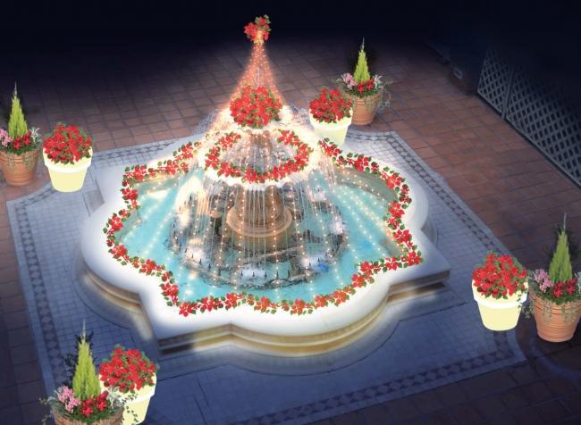 ポインセチアで飾られた噴水