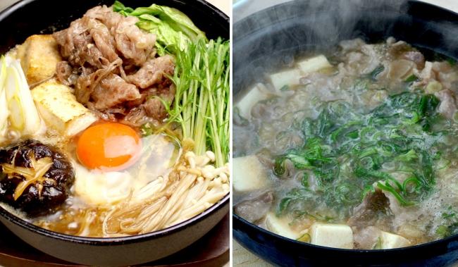 (左)特選牛しゃぶの牛鍋 (右)牛しゃぶ肉吸い
