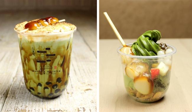 (左)焦がしきな粉の黒糖タピオカミルクみたらし団子添え (右)宇治抹茶パフェ