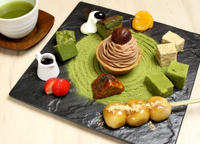 食べる日本庭園!禅庭の石庭をイメージ した抹茶づくしの『抹茶スイーツ盛り 合わせZEN』お抹茶付き¥1,850(税抜)