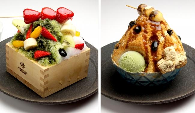 (左)抹茶白くまミルクかき氷 いちご飴トッピング (右)炙りみたらしきなことわらびもちのカキ氷