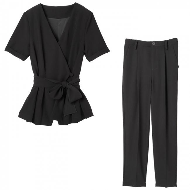 【2点セット】スーツ見え ペプラムデザインセットアップ
