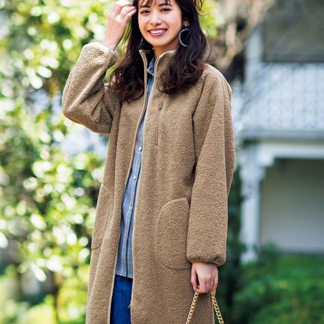 <防風ロングボアコート> 4,990円(税別)