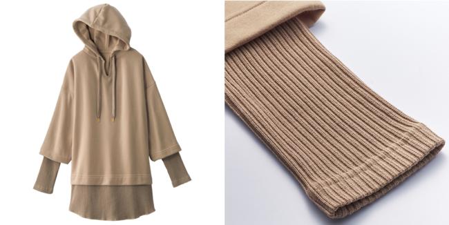 パーカー×リブトップス のドッキングデザイン 裾と袖口はリブ素材