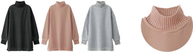 (左より)ブラック、ピンクベージュ、杢グレー            リブ素材のハイネックデザイン