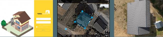 ※左・中:Terra Rooferアプリのログイン及び操作画面。右:実際に撮影した写真