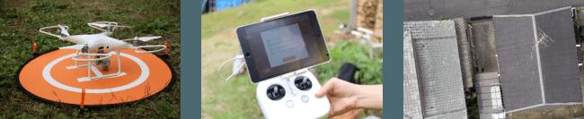 ※iPadを使用した簡単な操作で飛行・撮影が可能。屋根に登らず安全に屋根写真の撮影ができる