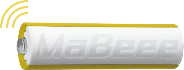「MaBeeeみまもり電池」外観写真(単3電池サイズ(「omu」本体内部の電池ボックスに装着します))