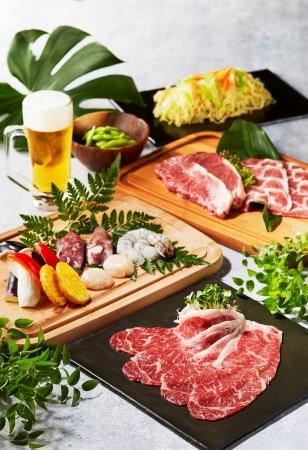 ステーキ、焼きしゃぶ&シーフードバーベキューセット