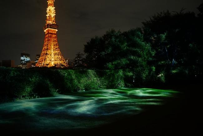 水のゆらぎをイメージしたプロジェクションマッピング(ザ・プリンスパークタワー東京)