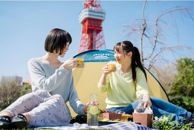 ホテルメイドの料理とともにピクニックを楽しむ様子 イメージ