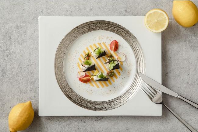 鰆のライムリーフ風味 広島レモンと蒲刈製藻塩の コンフィと野菜のソース(イメージ)