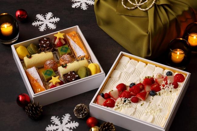 風呂敷に包まれた京都らしいお重箱に入ったケーキアソート「おもたせChristmas」