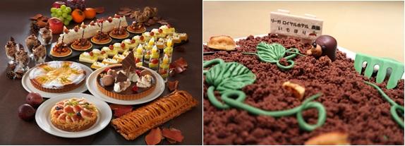 (左)「秋の味覚狩り」イメージ          (右)芋掘りデザート イメージ