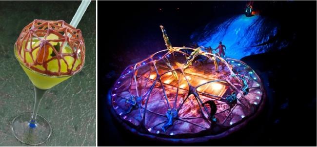 (左)亀の甲羅をイメージしたカクテル「Origin(オリジン) ~生命の息吹~」 (右)「ダイハツ トーテム」の演目のひとつ「カラペース」