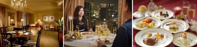 (左)客室 (中央)ディナー風景 (右)フレンチディナー(上記はメインの肉・魚両方のお料理を含んでいます)※写真はすべてイメージです。