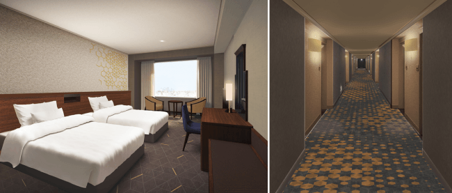 左:スーペリアフロア 客室イメージ/右:スーペリアフロアロビーイメージ
